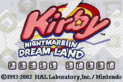 Kirby - Nightmare in Dream Land Title Screen