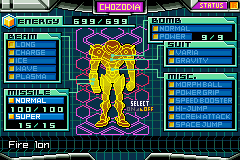 Metroid Zero Mission - Menu Hack
