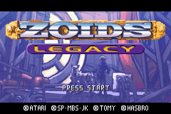 Zoids Legacy Title Screen