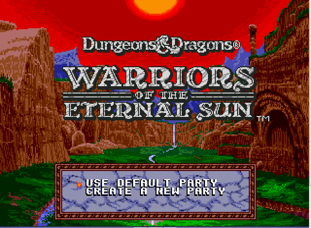 Dungeons & Dragons - Warriors of the Eternal Sun Title Screen