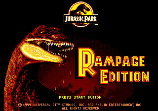 Jurassic Park - Rampage Edition Title Screen