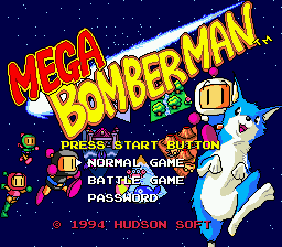 Mega Bomberman Title Screen