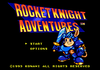 Rocket Knight Adventures Title Screen