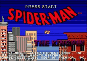 Spider-Man vs the Kingpin Title Screen