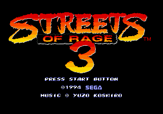 Streets of Rage 3 Title Screen