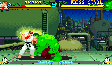 Marvel Super Heroes Vs. Street Fighter (Euro 970625) Screenshot 1