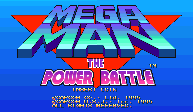 Mega Man: The Power Battle (CPS1, USA 951006) Title Screen