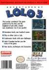Adventures of Lolo 3 Box Art Back