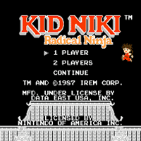 Kid Niki Radical Ninja Title Screen