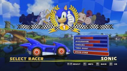 Sonic and SEGA All Stars Racing - Character Select  - Racer Select - User Screenshot