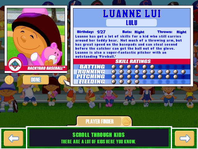 luanne lui backyard sports video game character profile vizzed