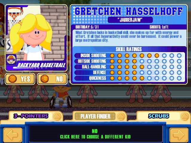 Gretchen Hasselhoff  Character Profile :ireallyreallylikebasketballitsfun!    User Screenshot