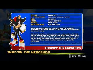 Sonic and SEGA All Stars Racing - Character Profile  - He likes nothing - User Screenshot