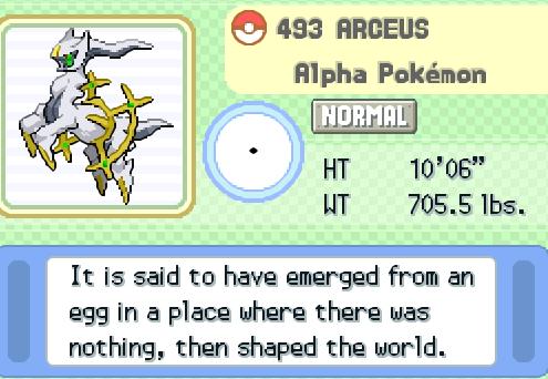 Arceus Pokémon Video Game Character Profile Vizzed