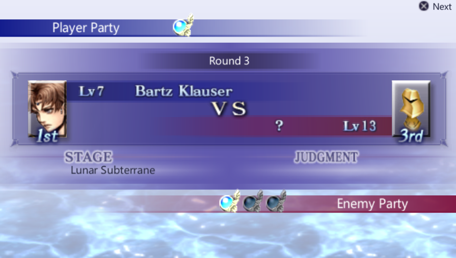 Bartz Klauser -Misc Pre-battle:Bartz vs Manakins Round 3. - User Screenshot