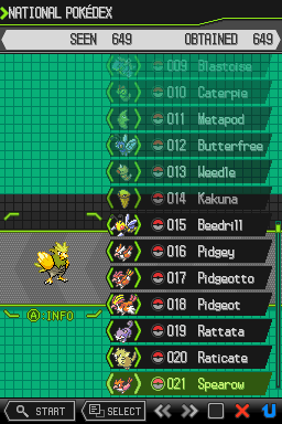 Rattata -Menus :Pokedex - User Screenshot
