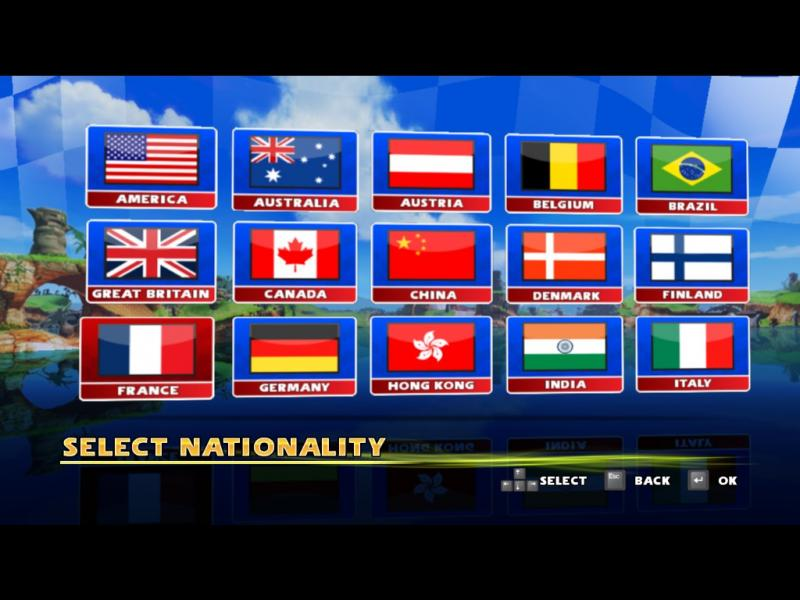 Sonic and SEGA All Stars Racing - Mode Select  - Nationality Select - User Screenshot