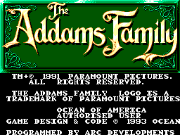 Addams Family, The Title Screen
