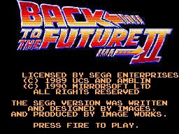 Back to the Future Part II Title Screen