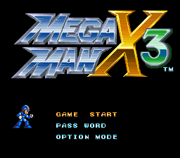 Mega Man X3 Title Screen