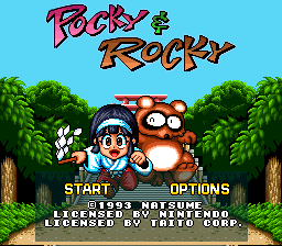 Pocky & Rocky Title Screen