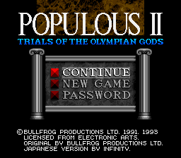 Populous II - Trials of the Olympian God Title Screen
