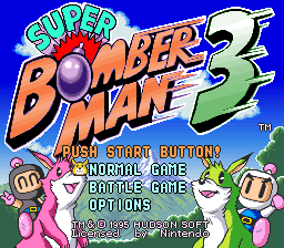 Super Bomberman 3 Title Screen