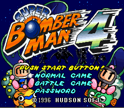 Super Bomberman 4 (english translation) Title Screen