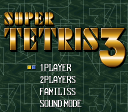 Super Tetris 3 Title Screen