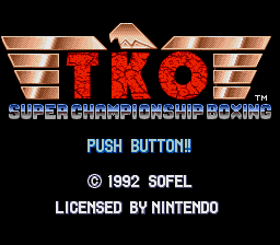 TKO Super Championship Boxing Title Screen