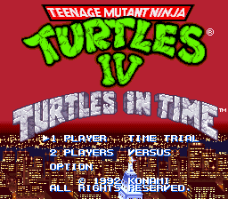 Teenage Mutant Ninja Turtles IV - Turtles in Time Title Screen