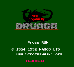 The Tower of Druaga (English translation) Title Screen