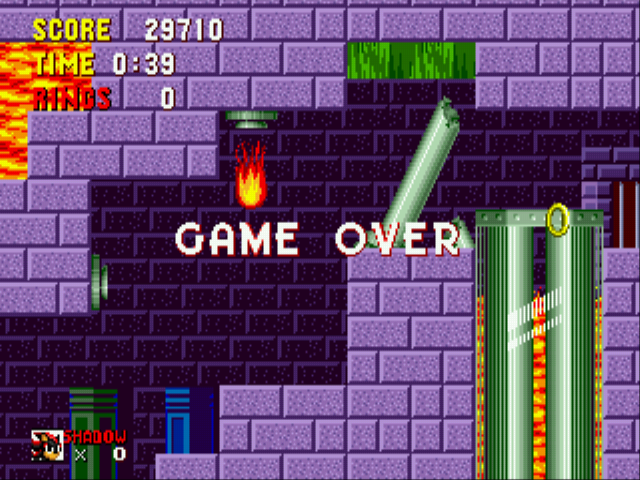 Shadow the Hedgehog - game over - User Screenshot