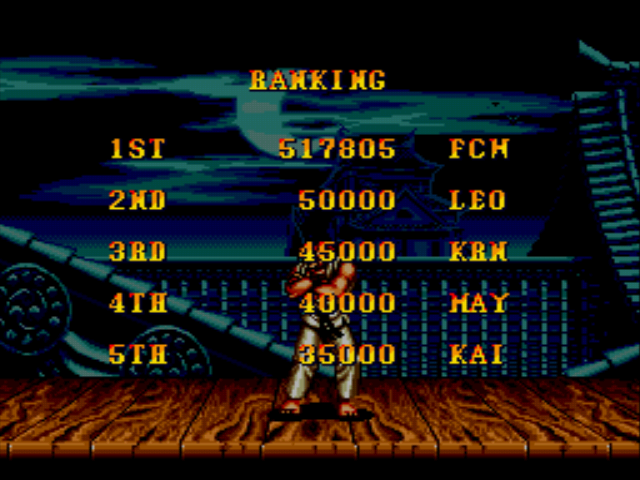 Super Street Fighter II - The New Challengers - My High Score - User Screenshot