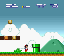 Super Mario All-Stars - smb looking at pipe - User Screenshot