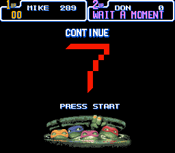 Teenage Mutant Ninja Turtles IV - Turtles in Time - Game over... - User Screenshot