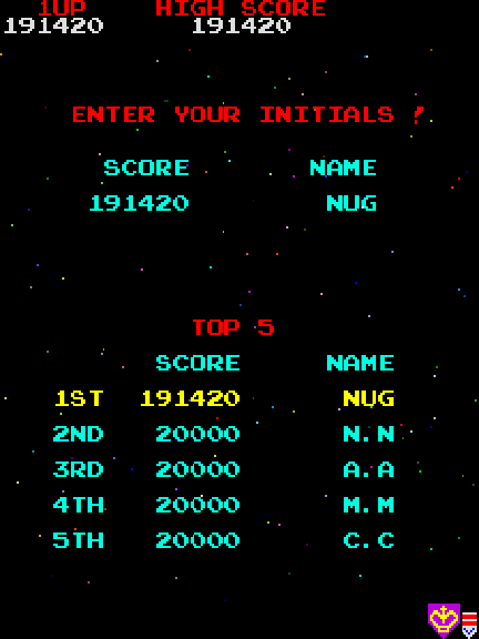 Galaga (Namco rev. B) - NuggyCreepingUp - User Screenshot