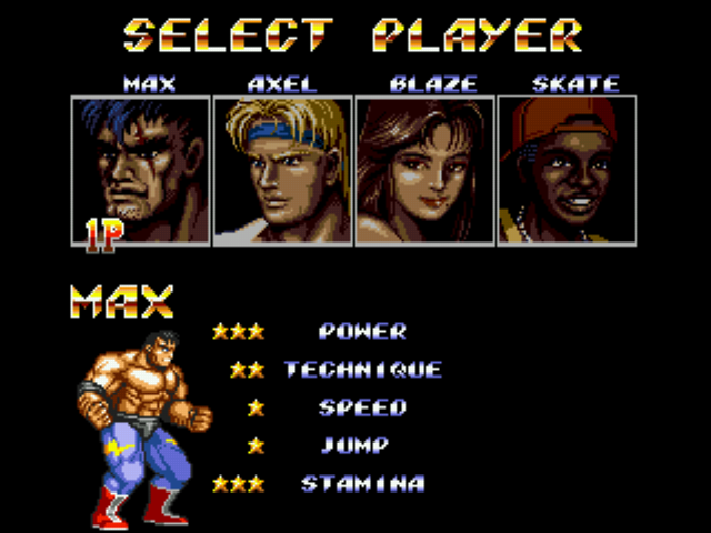 Streets of Rage 2 - Character Select  - Max - User Screenshot