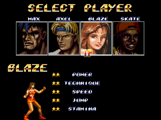 Streets of Rage 2 - Character Select  - Blaze Fielding - User Screenshot