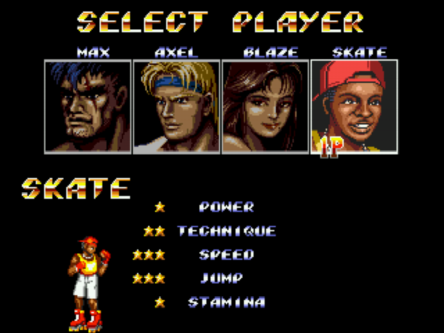 Streets of Rage 2 - Character Select  - Skate - User Screenshot