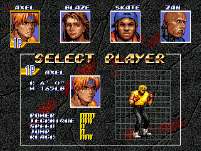 Streets of Rage 3 - Character Select  - Axel Stone - User Screenshot
