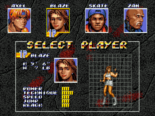 Streets of Rage 3 - Character Select  - Blaze Fielding - User Screenshot