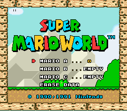 Super Mario World - Title Screen - User Screenshot