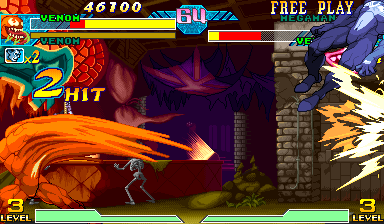 Marvel Vs. Capcom: Clash of Super Heroes (Euro 980123) - Battle  - High Speed Venom vs Venom - User Screenshot