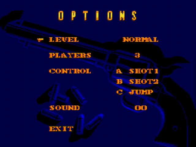 Sunset Riders - Menus Options -  - User Screenshot