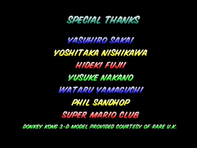 Mario Kart 64 - Ending  - Special thanks. - User Screenshot