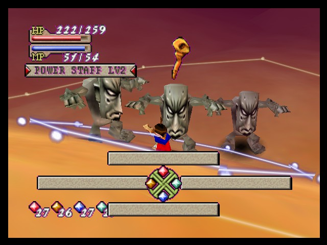 Quest 64 - Battle  - Brian battles three Sandmen in Dindom Dries. - User Screenshot