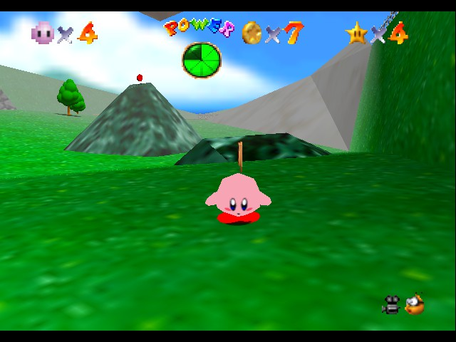 play super mario 64   kirby edition online n64 rom hack of