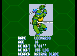 Teenage Mutant Ninja Turtles - Turtles in Time (4 Players ver UAA) - Character Profile Leo - Player 1: Leonardo - User Screenshot