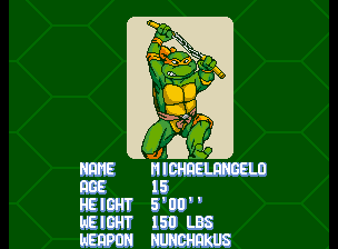 Teenage Mutant Ninja Turtles - Turtles in Time (4 Players ver UAA) - Character Profile Mike - Player 2: Michaelangelo - User Screenshot